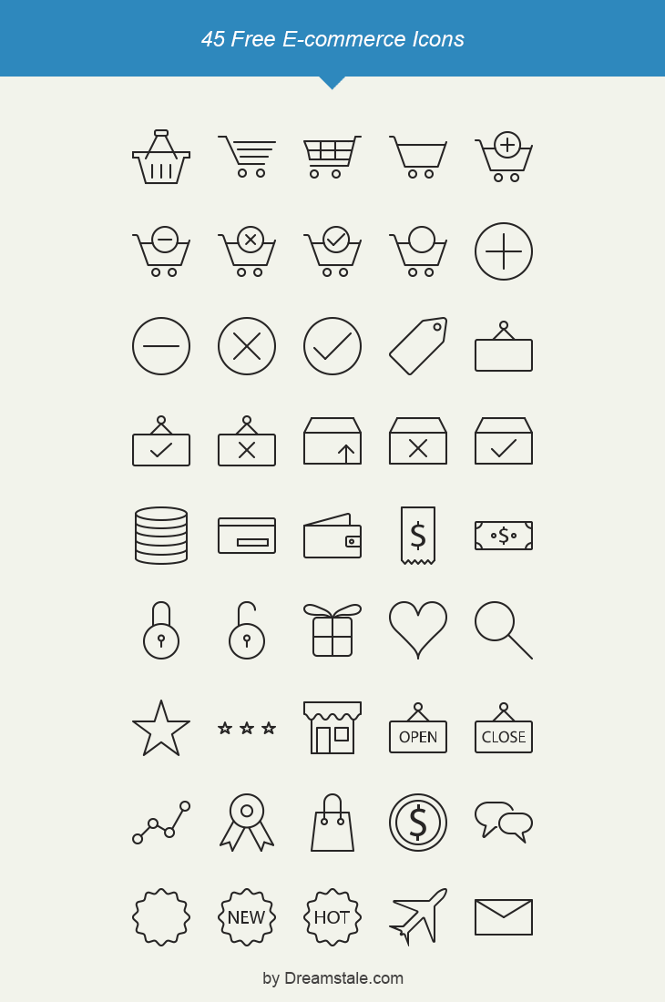 45 Vector Outline E-commerce Icons