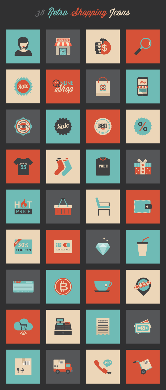 36 Retro Shopping Icons